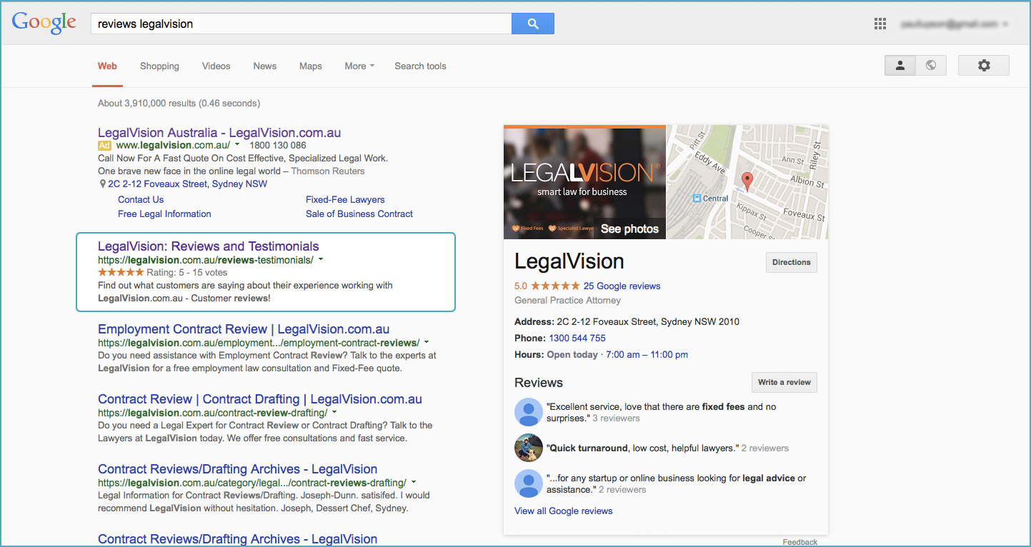 LegalVision review stars, page 1, position 1 SERPs result thanks to InnovaReviews